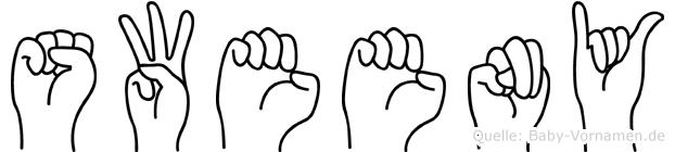 Sweeny im Fingeralphabet der Deutschen Gebärdensprache