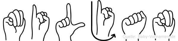 Miljan im Fingeralphabet der Deutschen Gebärdensprache