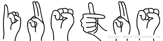 Iustus im Fingeralphabet der Deutschen Gebärdensprache