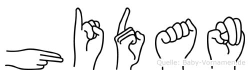 Hidan im Fingeralphabet der Deutschen Gebärdensprache