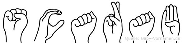 Scarab im Fingeralphabet der Deutschen Gebärdensprache