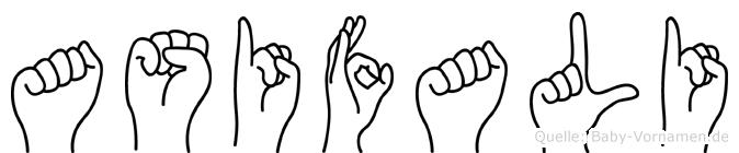 Asifali im Fingeralphabet der Deutschen Gebärdensprache