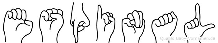 Espinal im Fingeralphabet der Deutschen Gebärdensprache