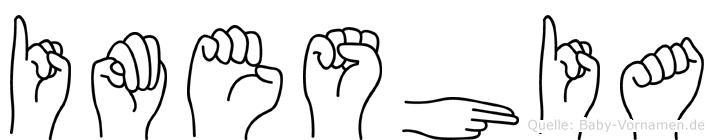 Imeshia im Fingeralphabet der Deutschen Gebärdensprache