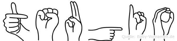 Tsugio im Fingeralphabet der Deutschen Gebärdensprache