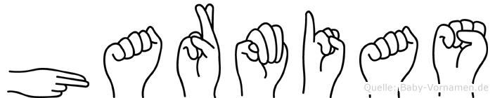 Harmias im Fingeralphabet der Deutschen Gebärdensprache