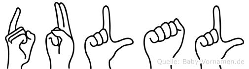 Dulal im Fingeralphabet der Deutschen Gebärdensprache