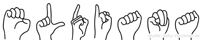 Eldiana im Fingeralphabet der Deutschen Gebärdensprache