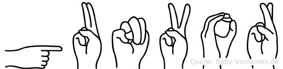 Gunvor im Fingeralphabet der Deutschen Gebärdensprache