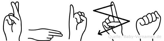 Rhiza im Fingeralphabet der Deutschen Gebärdensprache