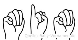 Mim in Fingersprache für Gehörlose