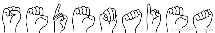 Sedemaiea im Fingeralphabet der Deutschen Gebärdensprache