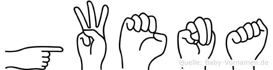 Gwena im Fingeralphabet der Deutschen Gebärdensprache