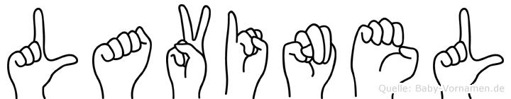 Lavinel im Fingeralphabet der Deutschen Gebärdensprache