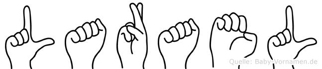 Larael im Fingeralphabet der Deutschen Gebärdensprache