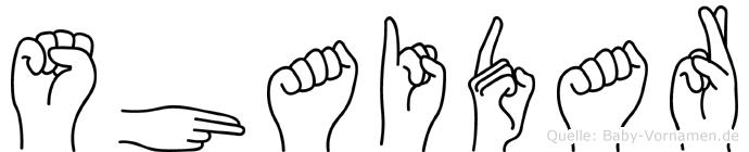 Shaidar im Fingeralphabet der Deutschen Gebärdensprache