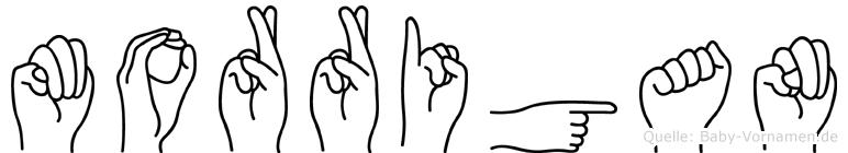 Morrigan im Fingeralphabet der Deutschen Gebärdensprache