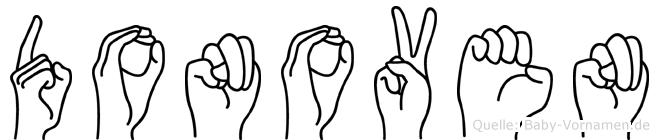 Donoven im Fingeralphabet der Deutschen Gebärdensprache