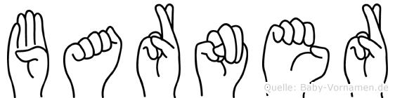Barner im Fingeralphabet der Deutschen Gebärdensprache