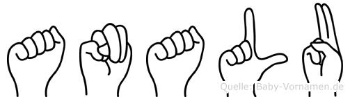 Analu im Fingeralphabet der Deutschen Gebärdensprache