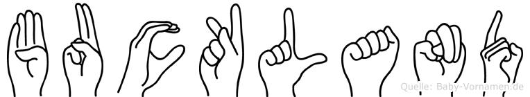 Buckland im Fingeralphabet der Deutschen Gebärdensprache