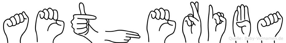 Aetheriba im Fingeralphabet der Deutschen Gebärdensprache