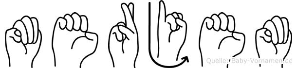 Merjem im Fingeralphabet der Deutschen Gebärdensprache