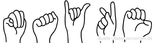 Mayke im Fingeralphabet der Deutschen Gebärdensprache