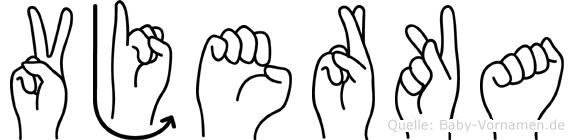 Vjerka im Fingeralphabet der Deutschen Gebärdensprache