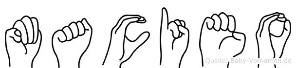 Macieo im Fingeralphabet der Deutschen Gebärdensprache