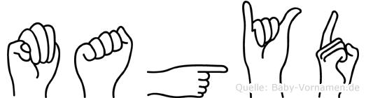 Magyd im Fingeralphabet der Deutschen Gebärdensprache