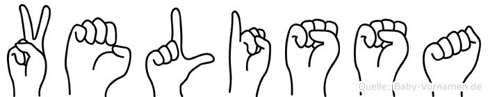 Velissa im Fingeralphabet der Deutschen Gebärdensprache