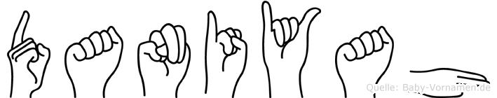 Daniyah im Fingeralphabet der Deutschen Gebärdensprache