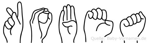 Kobea im Fingeralphabet der Deutschen Gebärdensprache