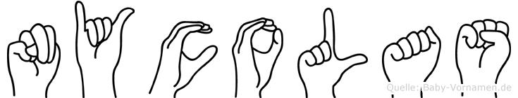Nycolas im Fingeralphabet der Deutschen Gebärdensprache