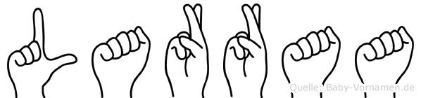 Larraa im Fingeralphabet der Deutschen Gebärdensprache