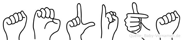 Aelita im Fingeralphabet der Deutschen Gebärdensprache