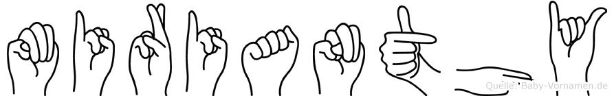 Mirianthy im Fingeralphabet der Deutschen Gebärdensprache