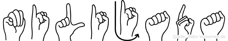 Milijada im Fingeralphabet der Deutschen Gebärdensprache