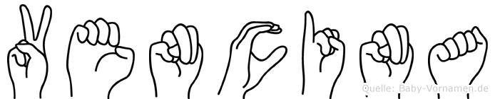 Vencina im Fingeralphabet der Deutschen Gebärdensprache