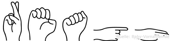 Reagh im Fingeralphabet der Deutschen Gebärdensprache