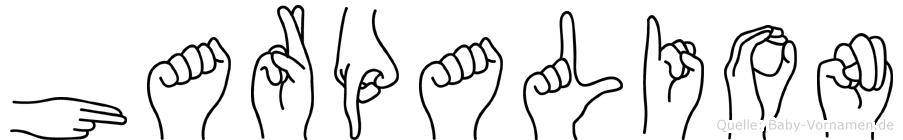 Harpalion im Fingeralphabet der Deutschen Gebärdensprache