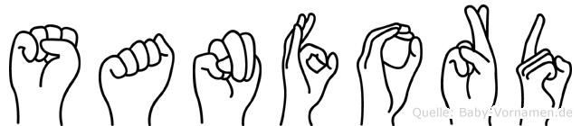 Sanford im Fingeralphabet der Deutschen Gebärdensprache