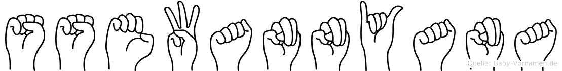 Ssewannyana im Fingeralphabet der Deutschen Gebärdensprache