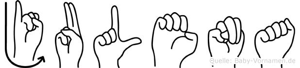 Julena im Fingeralphabet der Deutschen Gebärdensprache