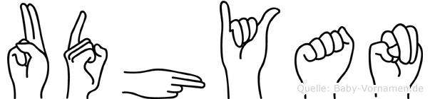 Udhyan im Fingeralphabet der Deutschen Gebärdensprache