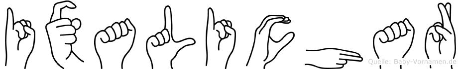 Ixalichar im Fingeralphabet der Deutschen Gebärdensprache