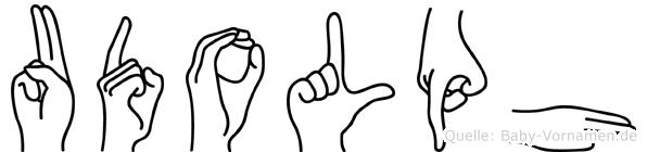 Udolph im Fingeralphabet der Deutschen Gebärdensprache