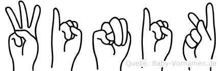 Winik im Fingeralphabet der Deutschen Gebärdensprache
