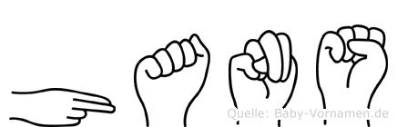 Hans in Fingersprache für Gehörlose
